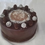 SIZE 28 CM CHOCOLATE TRUFFLE Chocolate sponge with dark chocolate filling and ganache icing.