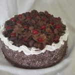 SIZE 30 CM BLACK FOREST  Chocolate cake layered with fresh cream, cherries and Kirsch liqueur.